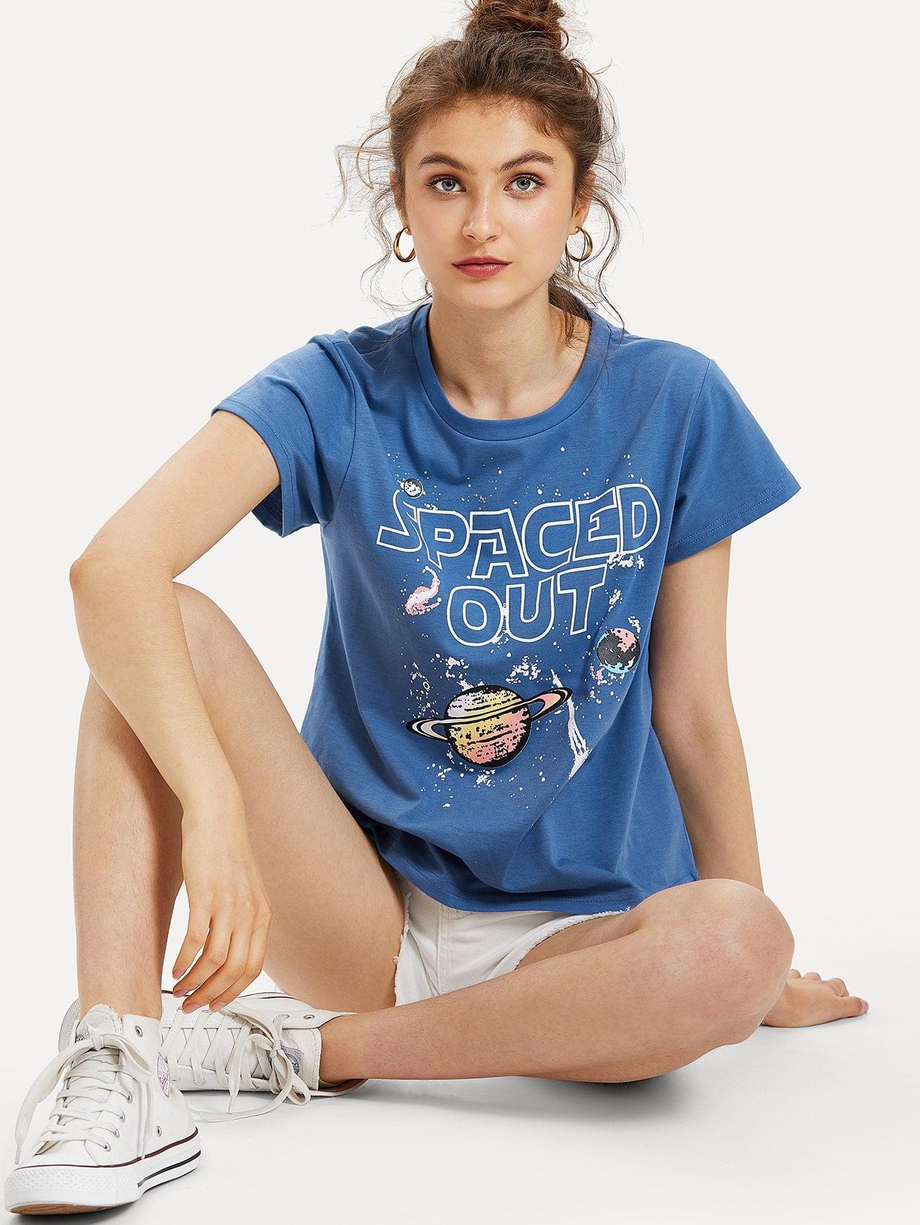 Space Print Short Sleeve T-shirt блузки a karina блузка