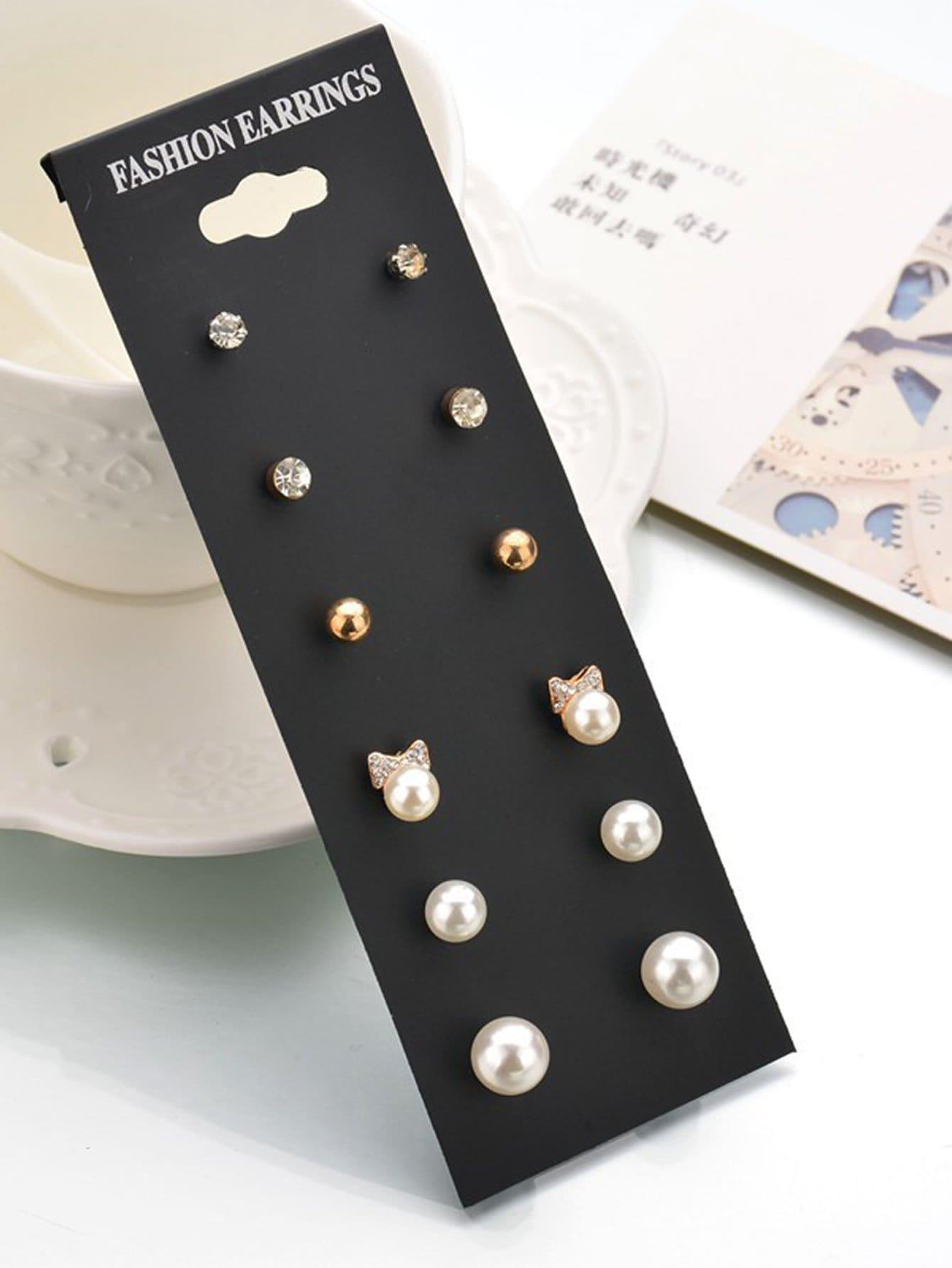 Faux Pearl & Rhinestone Stud Earrings 7pairs rhinestone faux pearl heart flower stud earrings