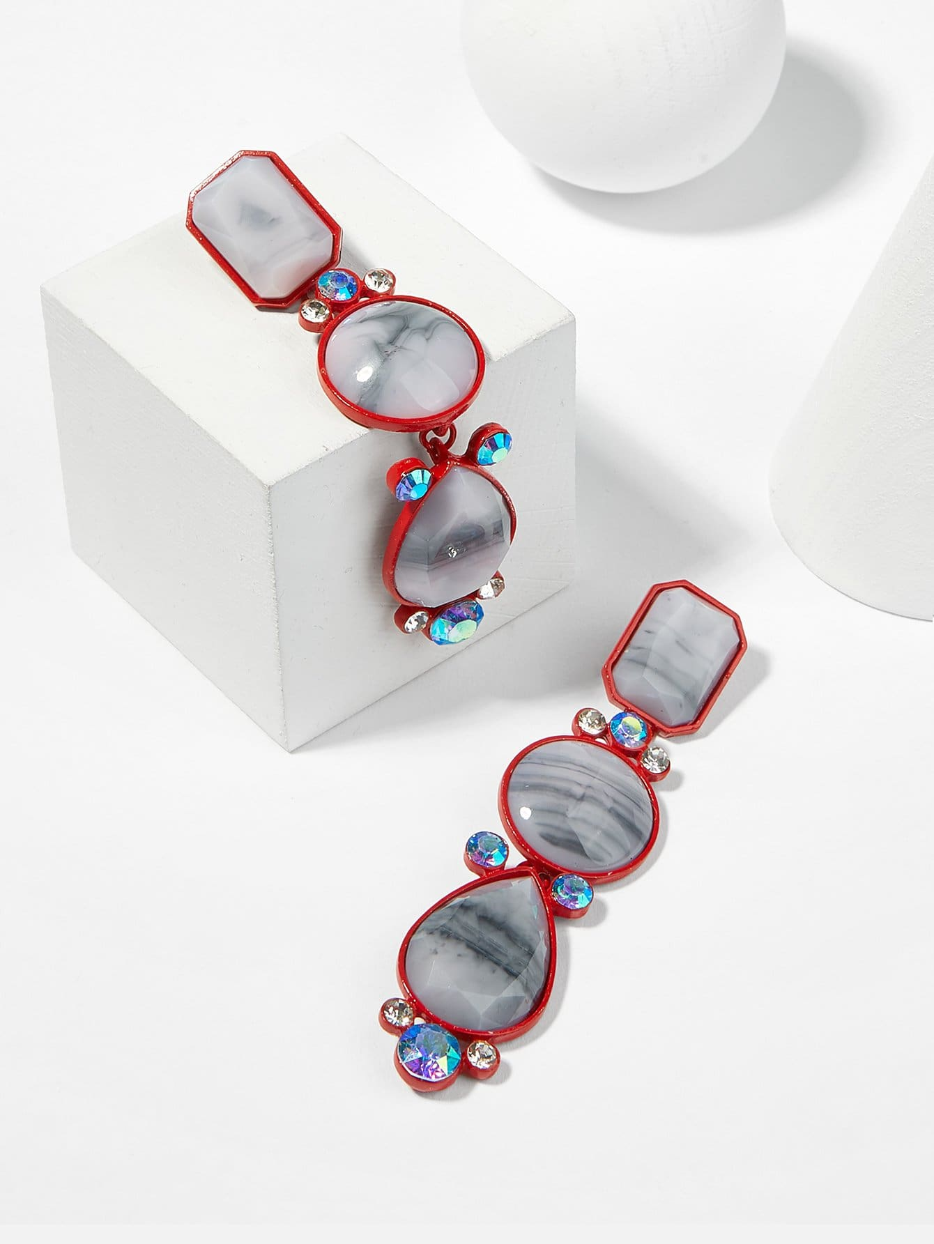 Geometric Gemstone Statement Earrings