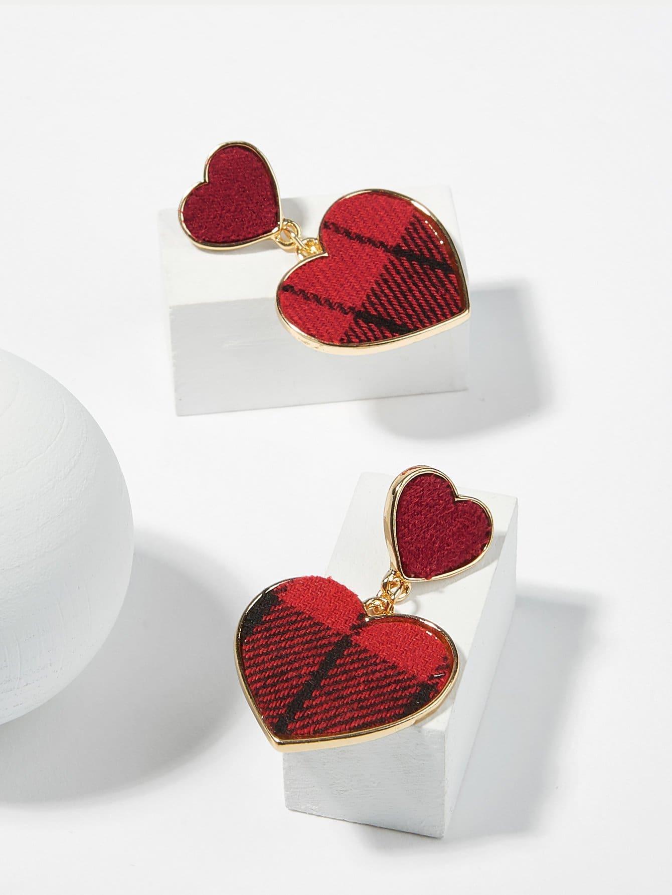 Купить Серьги с дизайном двойное сердце, null, SheIn