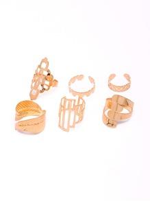Leaf & Heart Detail Hollow Rings Set 6pcs
