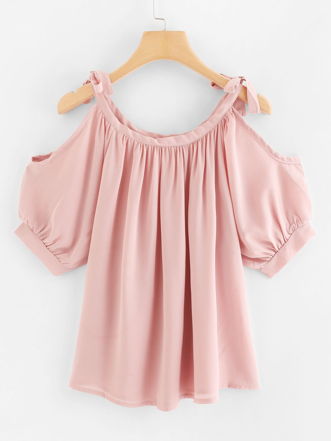 Knot Detail Pleated Cami Top pearl detail layered frill sleeve top
