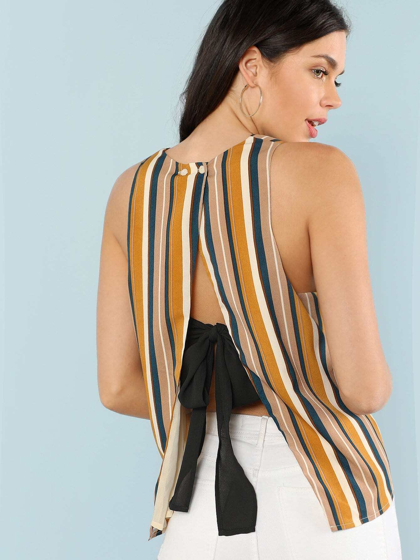 Slit Back Striped Shell Top