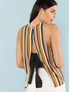 Slit Back Striped Shell Top