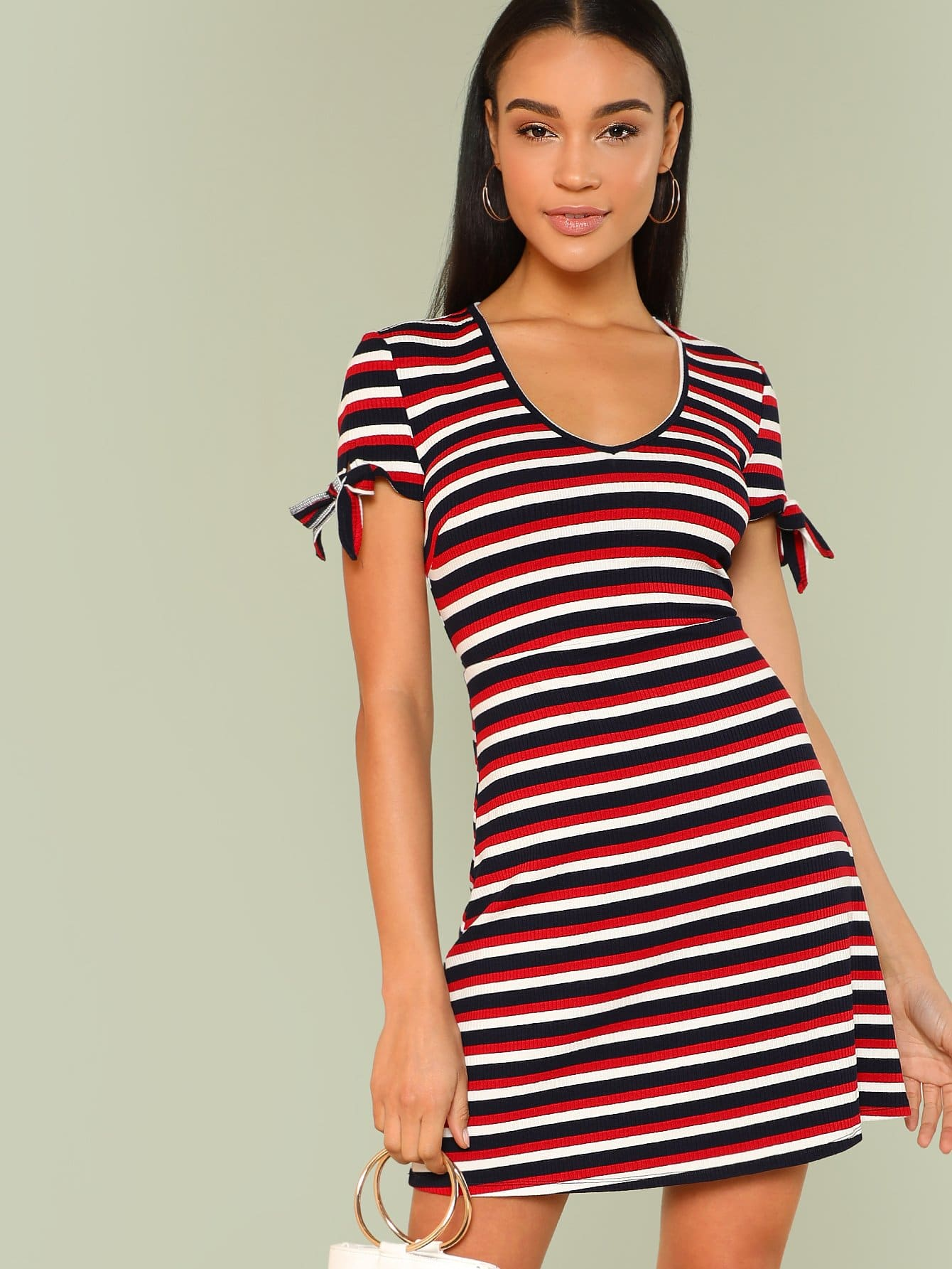 V Neck Tied Cuff Striped Dress letter print neck and cuff striped dress
