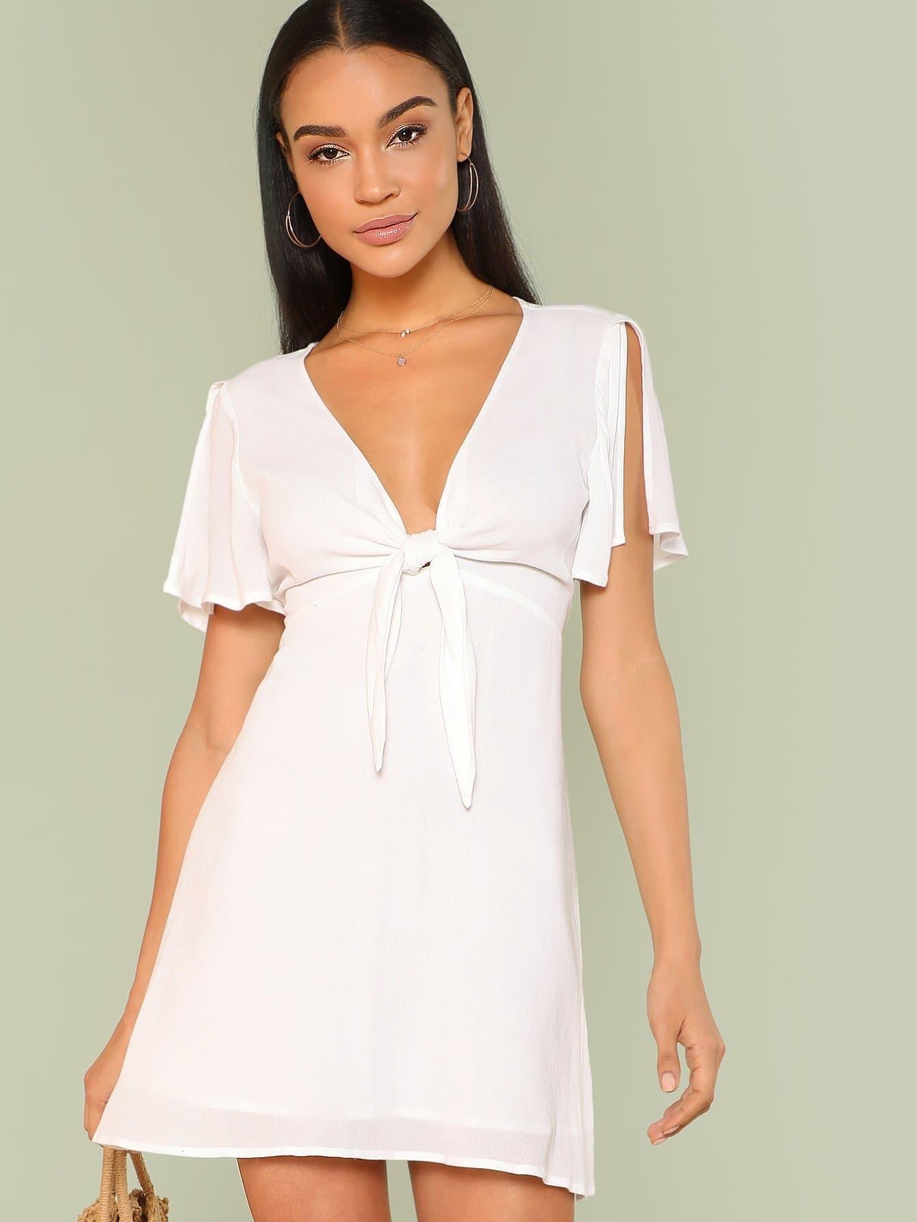 Open Midriff Knot Front Split Sleeve Dress knot front cutout midriff halterneck gingham dress