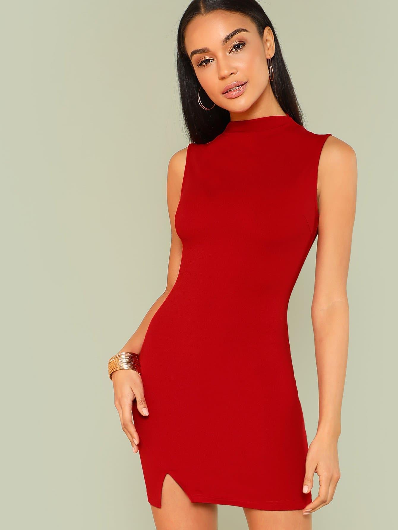 Mock Neck Form Fitted Slit Hem Dress v neck fitted front slit dress