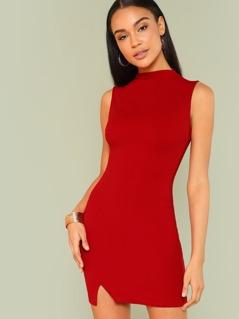 Mock Neck Form Fitted Slit Hem Dress