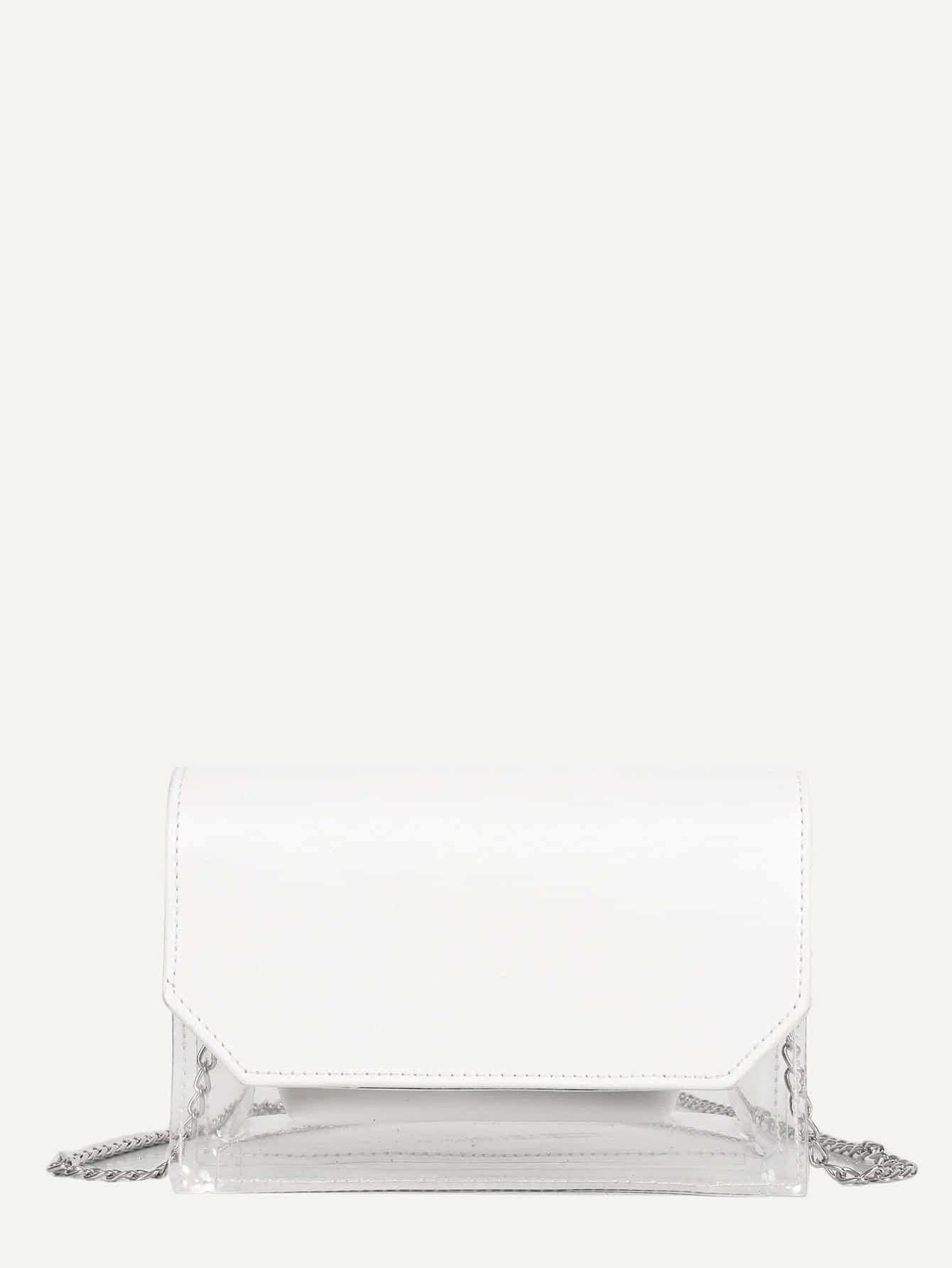 Clear PVC Flap Bag With Inner Pouch clear wood handle bag with sequin pouch
