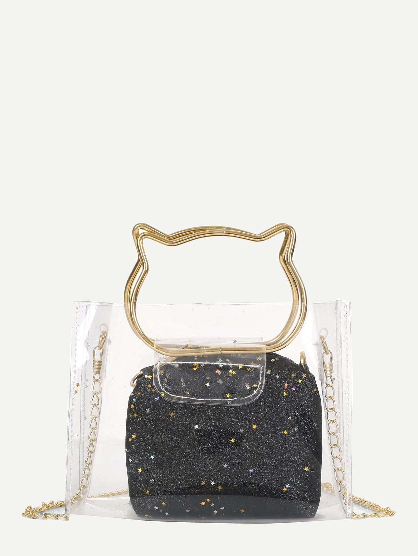 Clear PVC Bag With Glitter Inner Pouch clear design chain bag with inner pouch