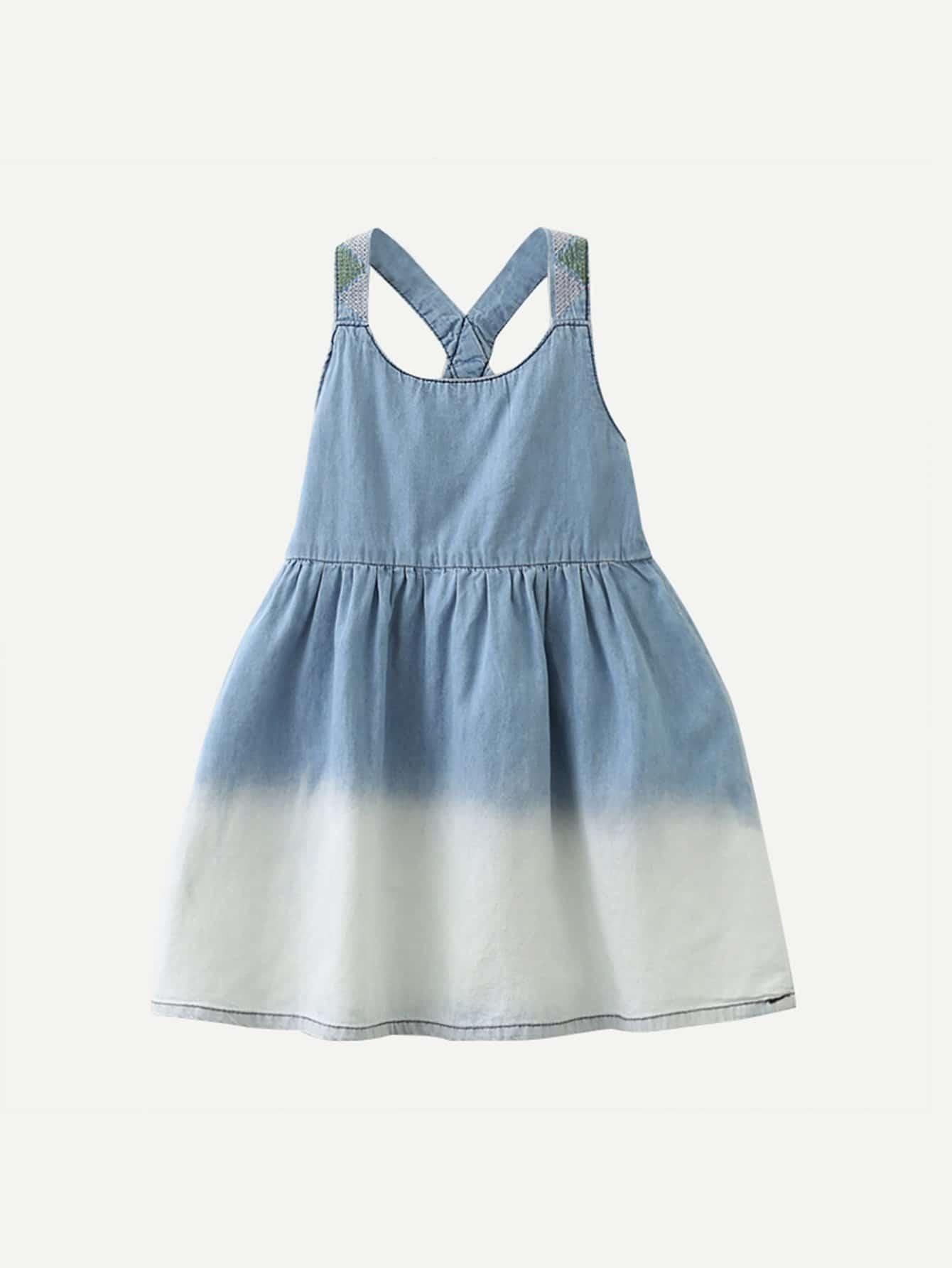 Девочки Омбре Джинсовые Плиссированные Платье Cami