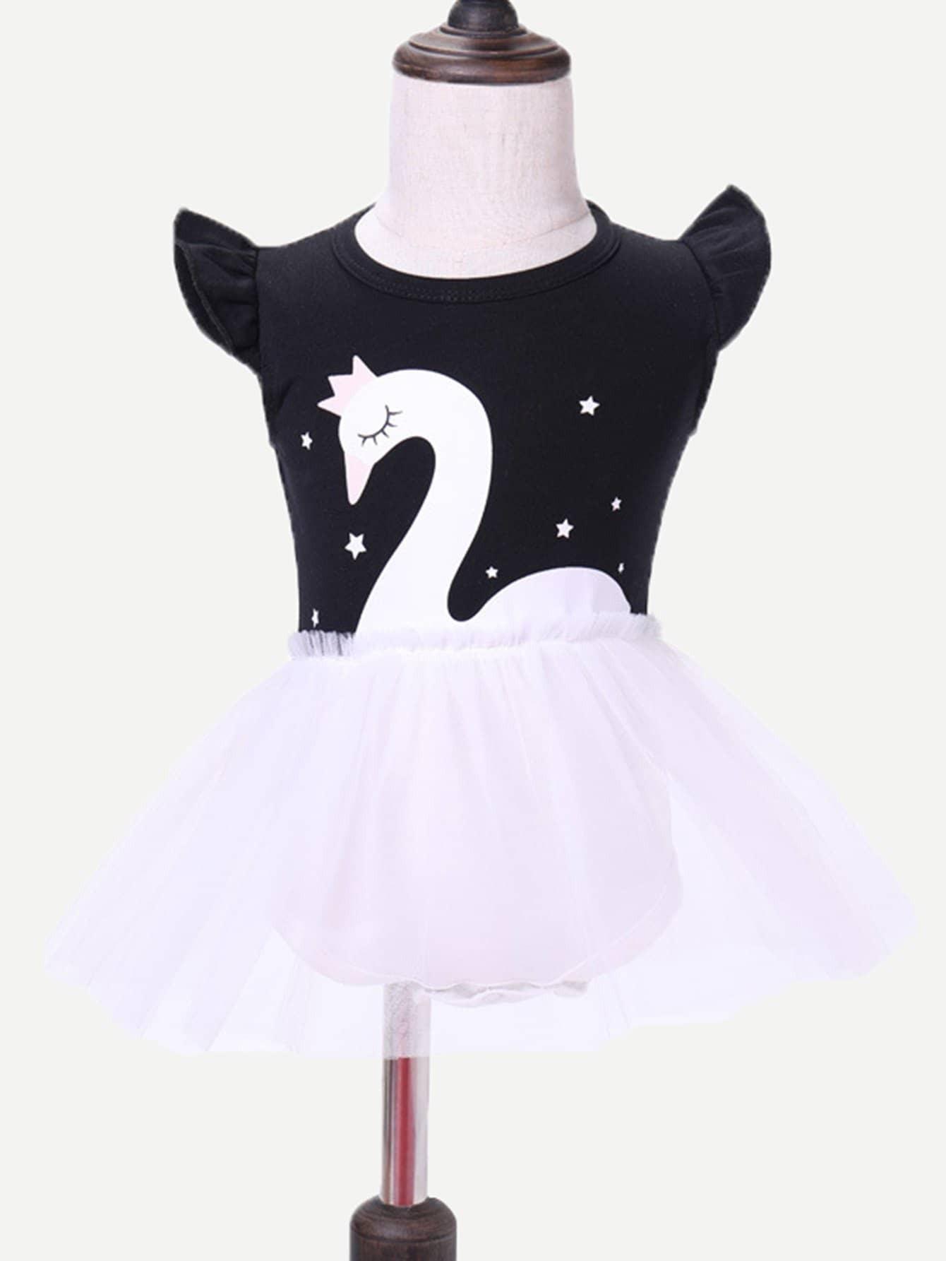 Swan Print Contrast Mesh Dress swan print tiered mesh dress