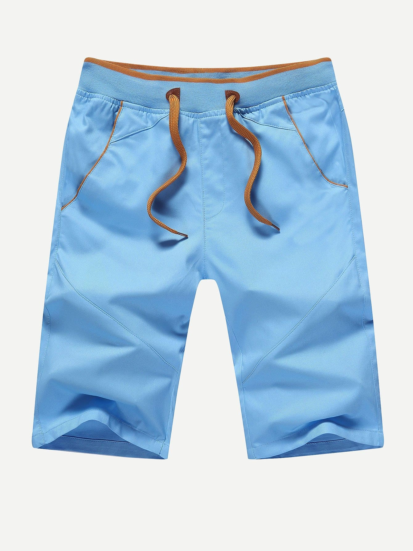 Men Drawstring Cut And Sew Panel Shorts men cut and sew panel beach shorts