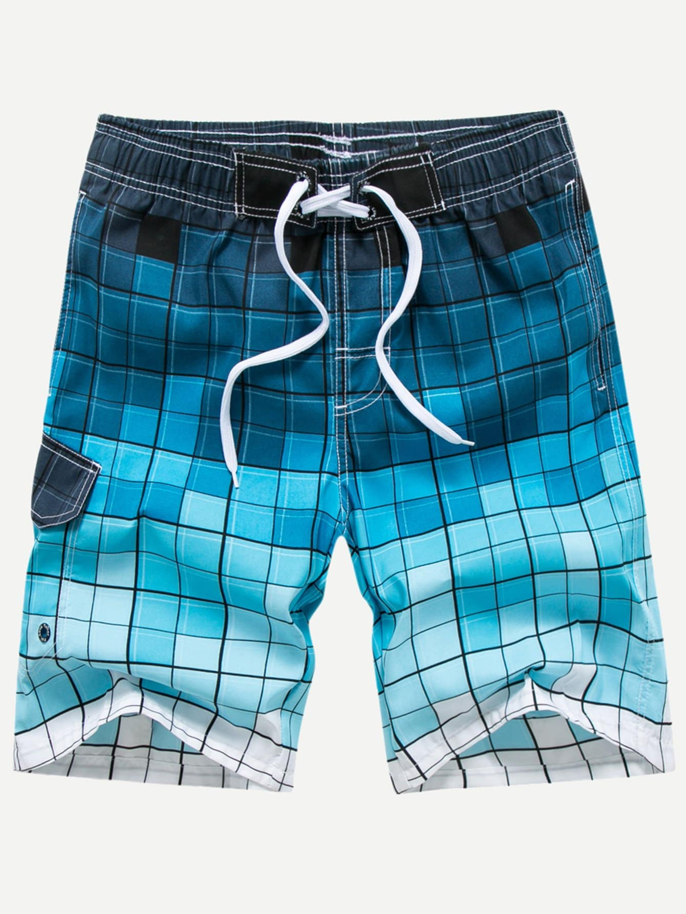 Men Drawstring Colorful Plaid Beach Shorts