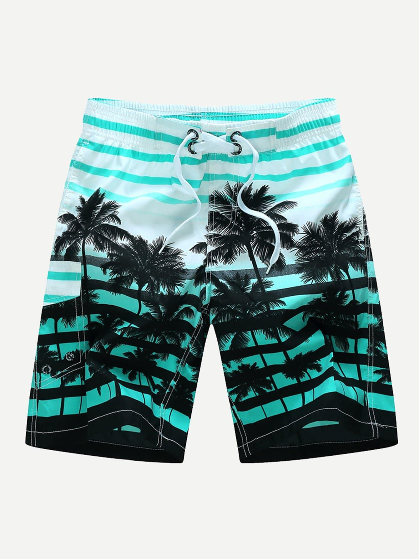 Купить Пляжные шорты с принтом тропики и полоски для мужчин, null, SheIn