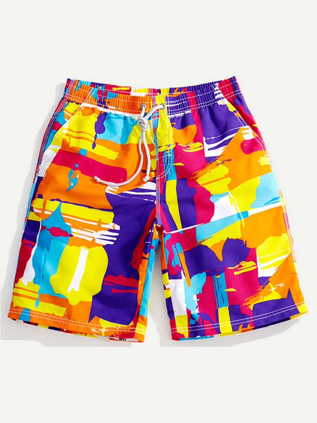все цены на Men Paint Drip Print Beach Shorts
