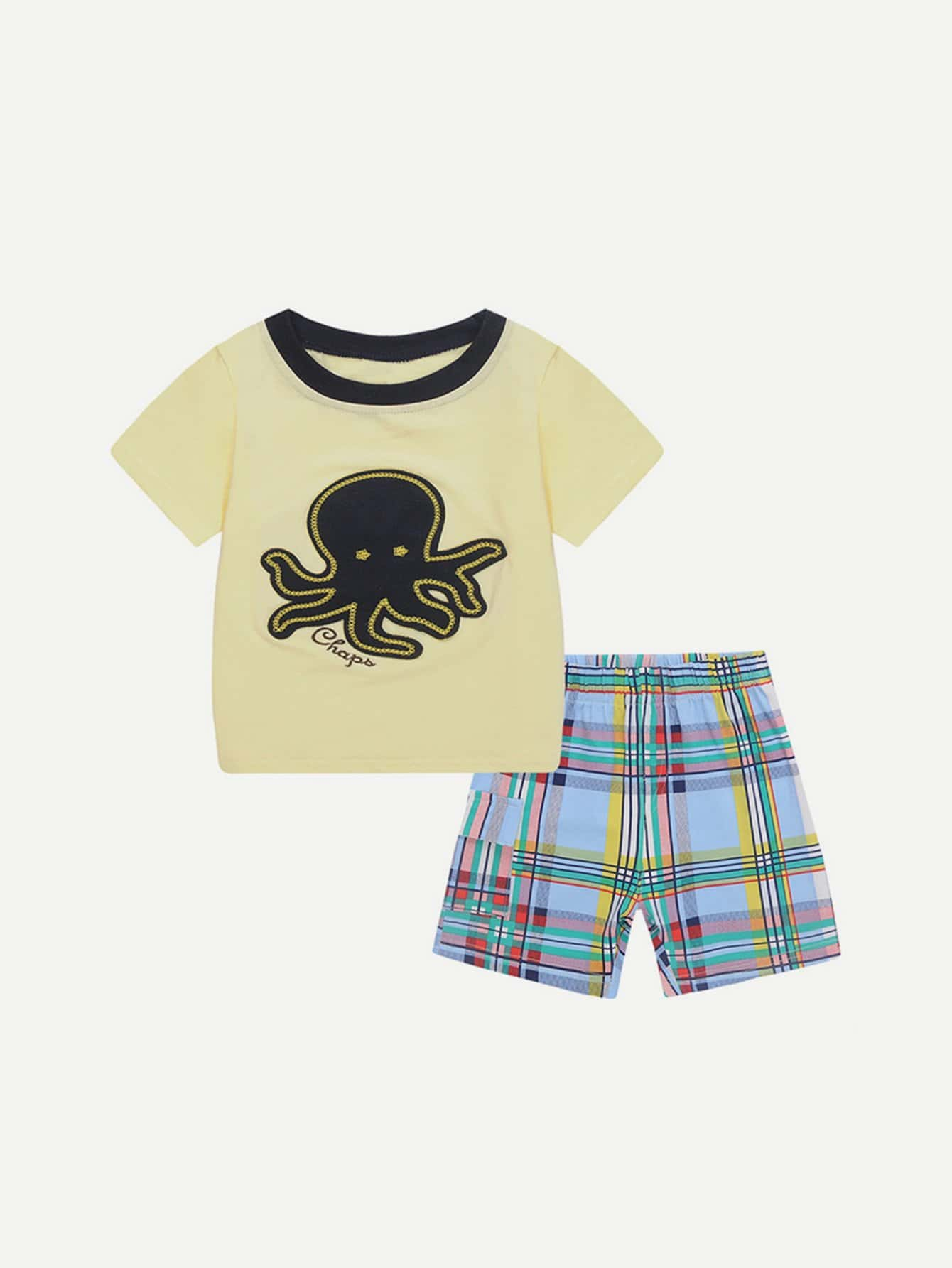 Boys Octopus Patched Tee With Tartan Plaid Shorts