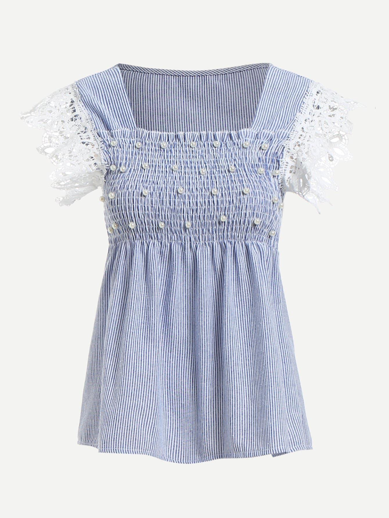 Faux Pearl Lace Crochet Contrast Stripe Blouse lace crochet contrast off shoulder stripe blouse