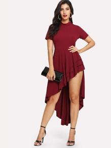 Layered Ruffle Fishtail Dress