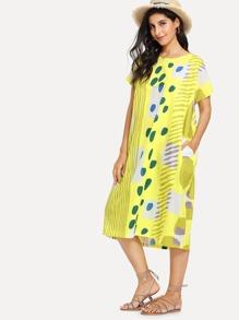 Graphic Print Hidden Pocket Dress