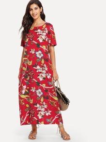 Floral Print Longline Dress
