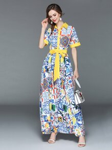Graphic Print Box Pleated Shirt Dress
