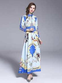 Camel Print Longline Shirt Dress