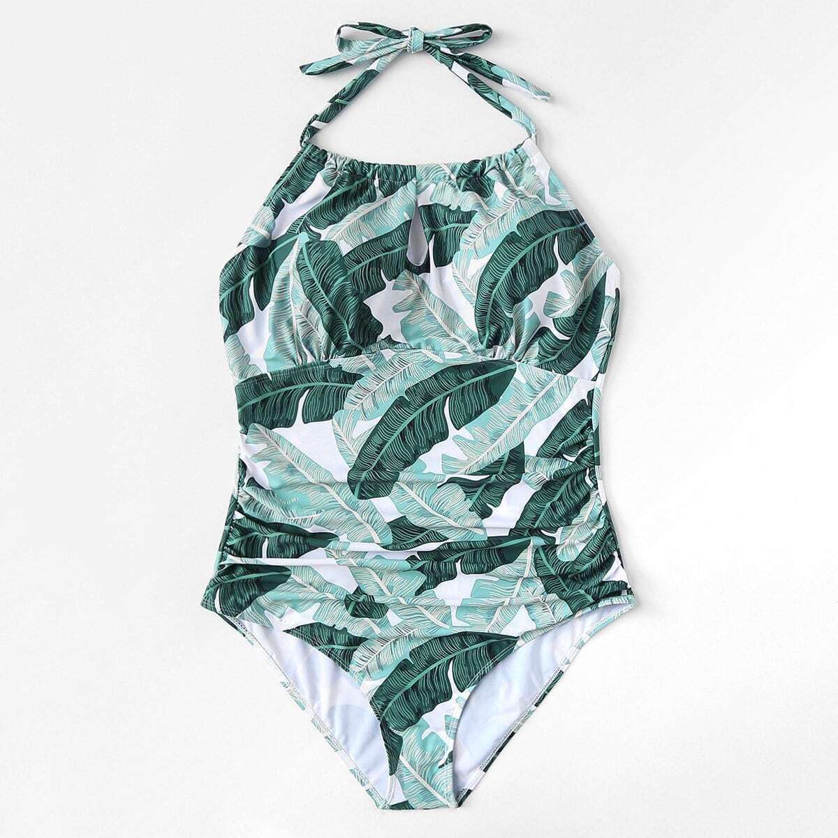 Veel kleurig Boho Tropisch Grote maten: badpakken Geknoopt