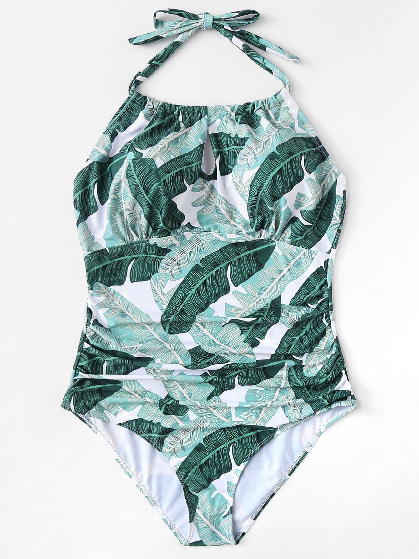Plus Jungle Print Halter Swimsuit