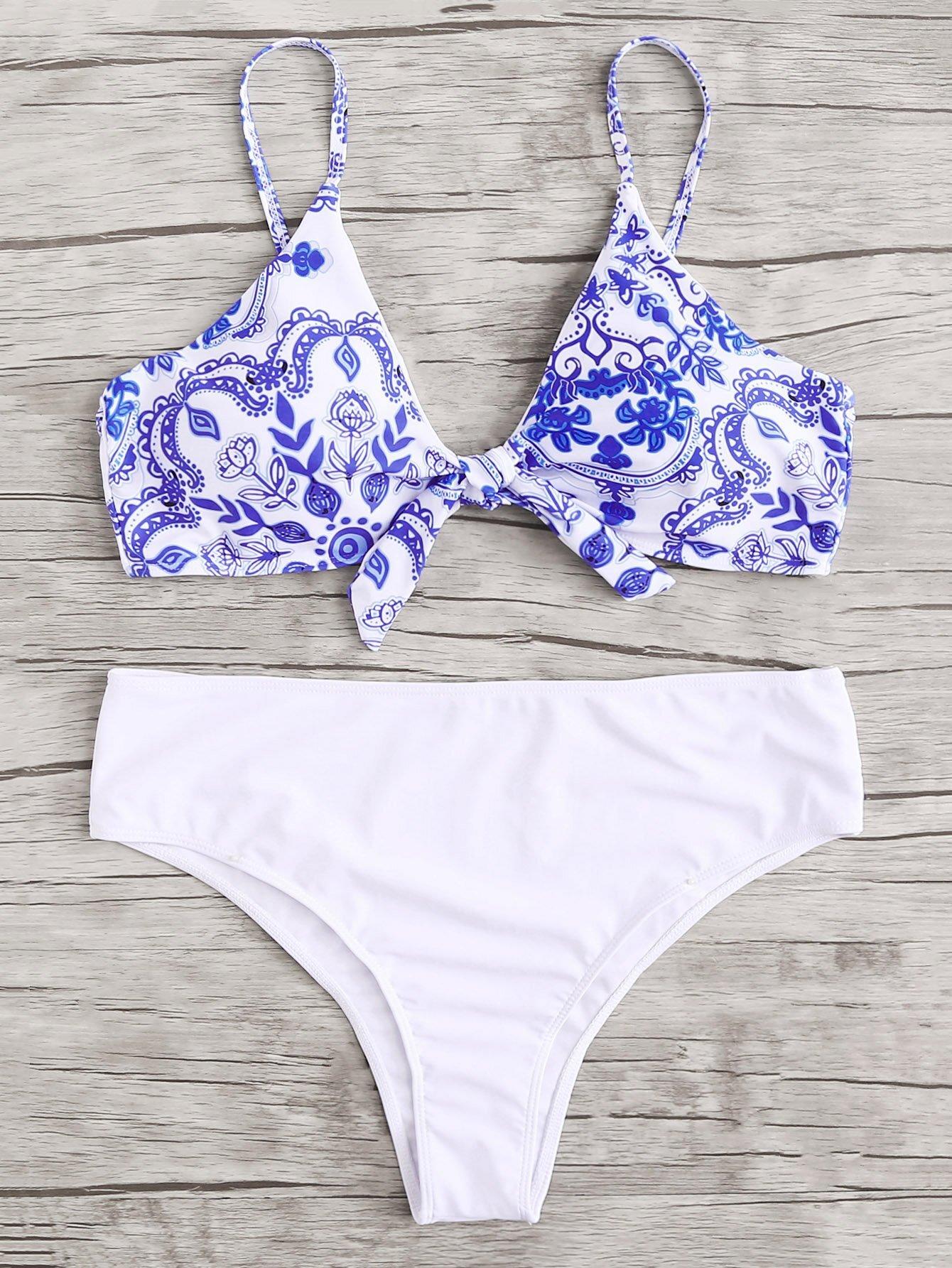 Plus Flower Print Knot Bikini Set