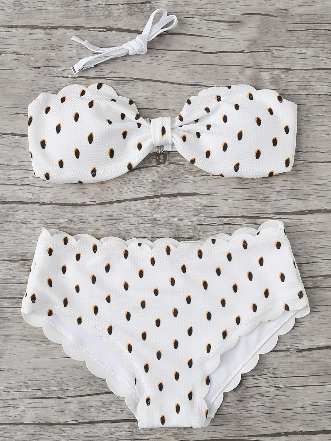 Scalloped Trim Dot Print Bikini Set scalloped trim bandeau bikini set