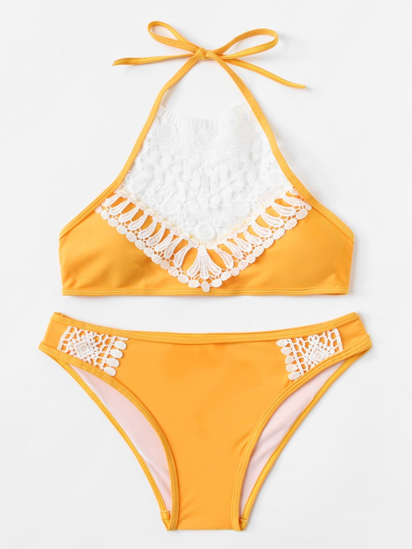 Contrast Lace Bikini Set contrast lace high neck bikini set