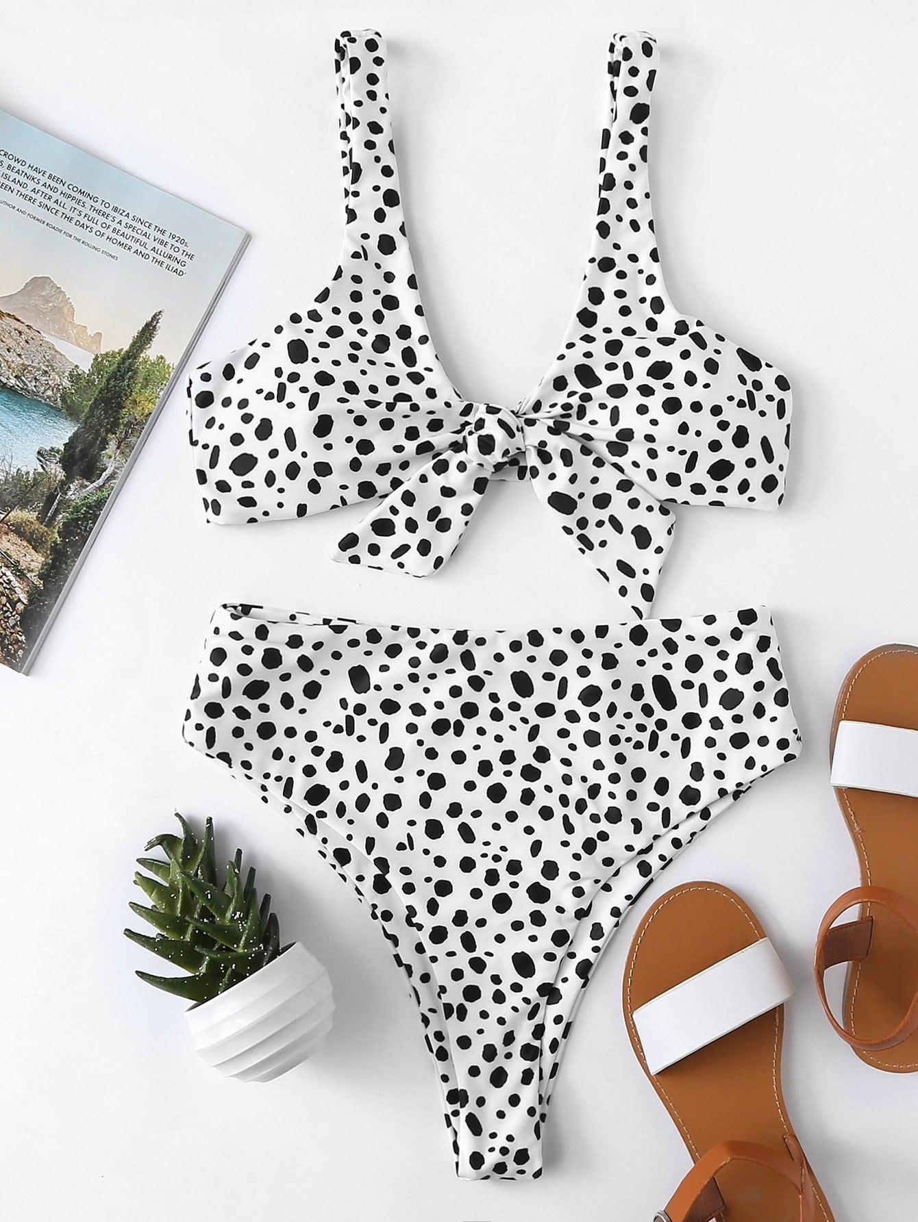 Фото Dot Print Knot Bikini Set checker knot bikini set