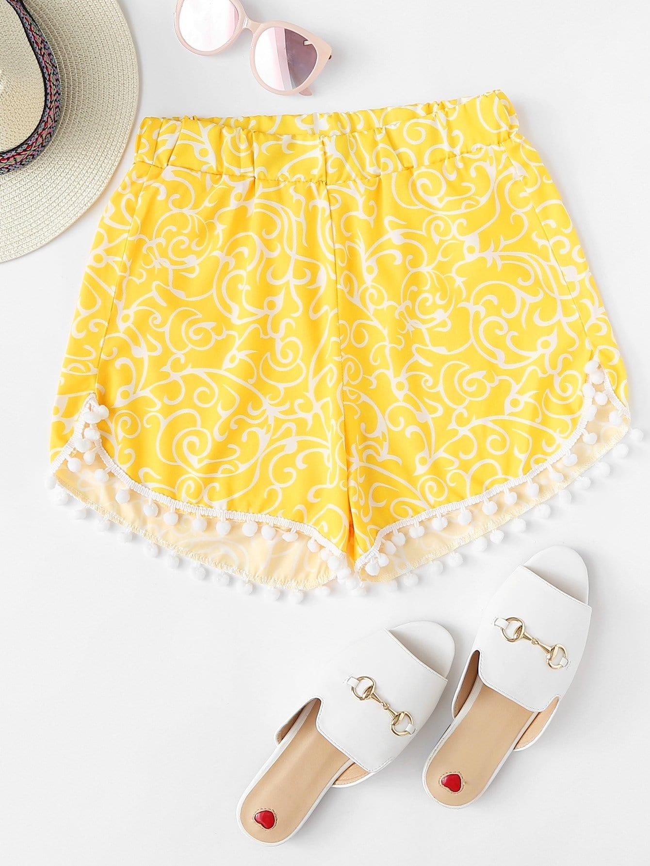 Pom Pom Hem Swim Shorts pom pom trim tropical swim cover up shorts