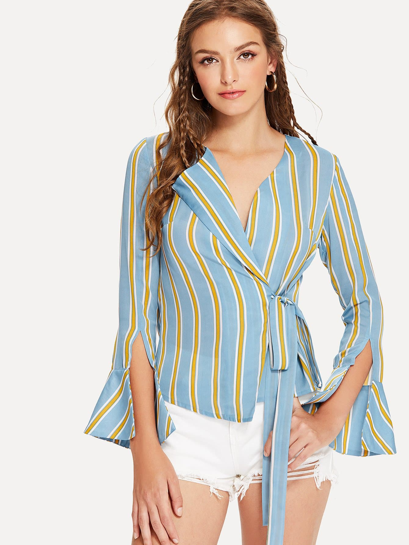Split Sleeve Striped Wrap Blouse striped wrap blouse