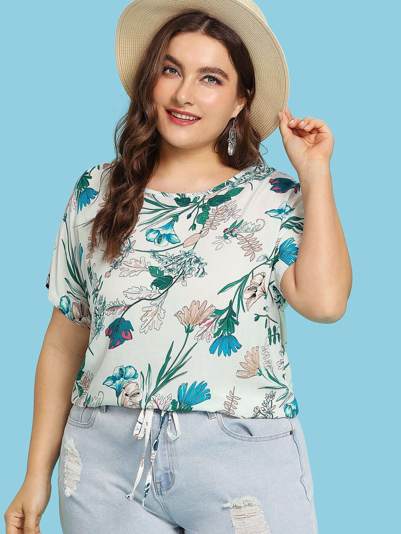 Plus Botanical Print Tie Hem Top