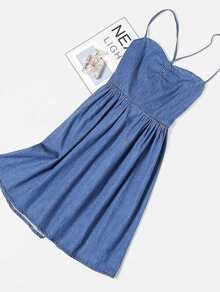 Tie Back Denim Cami Dress