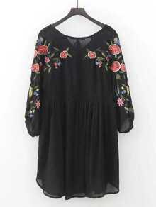 Tassel Tie Embroidery Dip Hem Dress