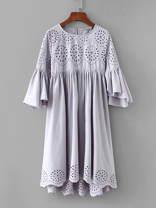 Eyelet Embroidered Flounce Sleeve Dress flounce sleeve embroidered mesh dress