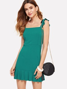 Frill Trim Sheath Dress