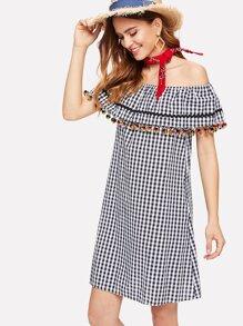 Flounce Layered Pom Pom Trim Gingham Dress