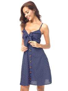 Button Knot Front Polka Dot Cami Dress