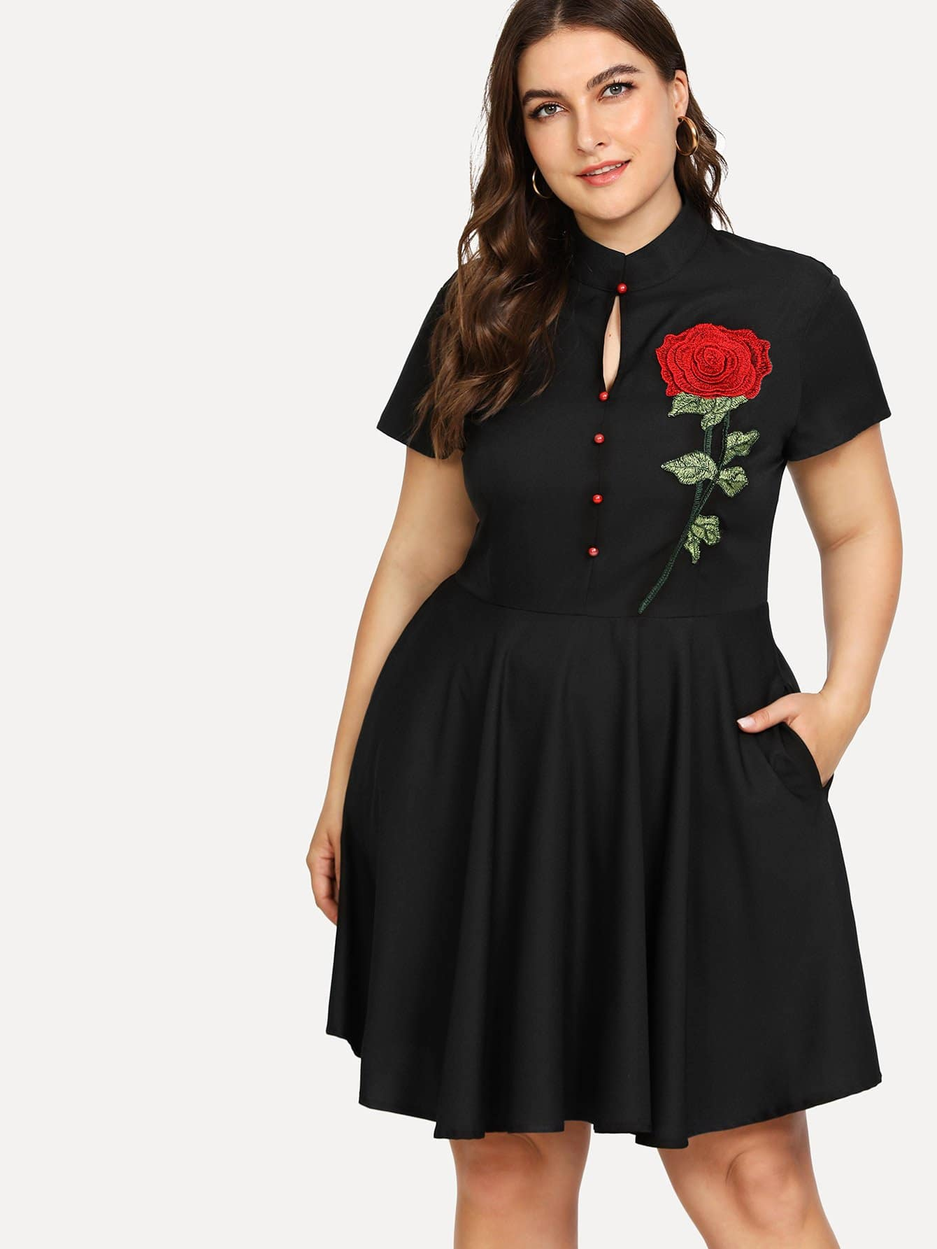 Rose Embroidered Applique Dress split side embroidered applique dress