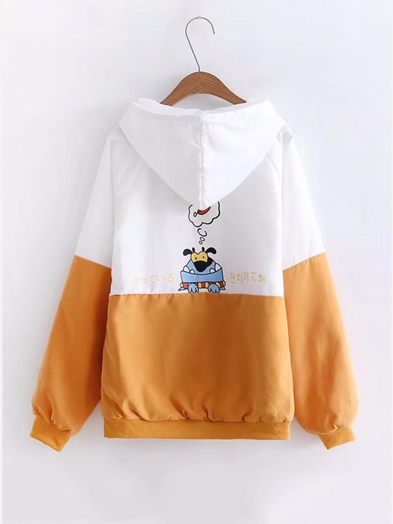 Two Tone Cartoon Print Hooded Jacket two tone drop shoulder sweatshirt