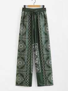 Tribal Print Wide Leg Pants SHEIN