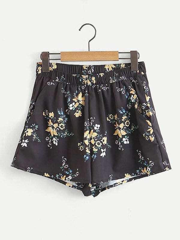 All Over Florals Shorts all over florals dip hem shirt