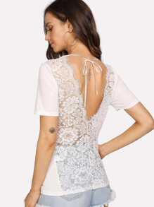 Lace Panel Open Back Tee