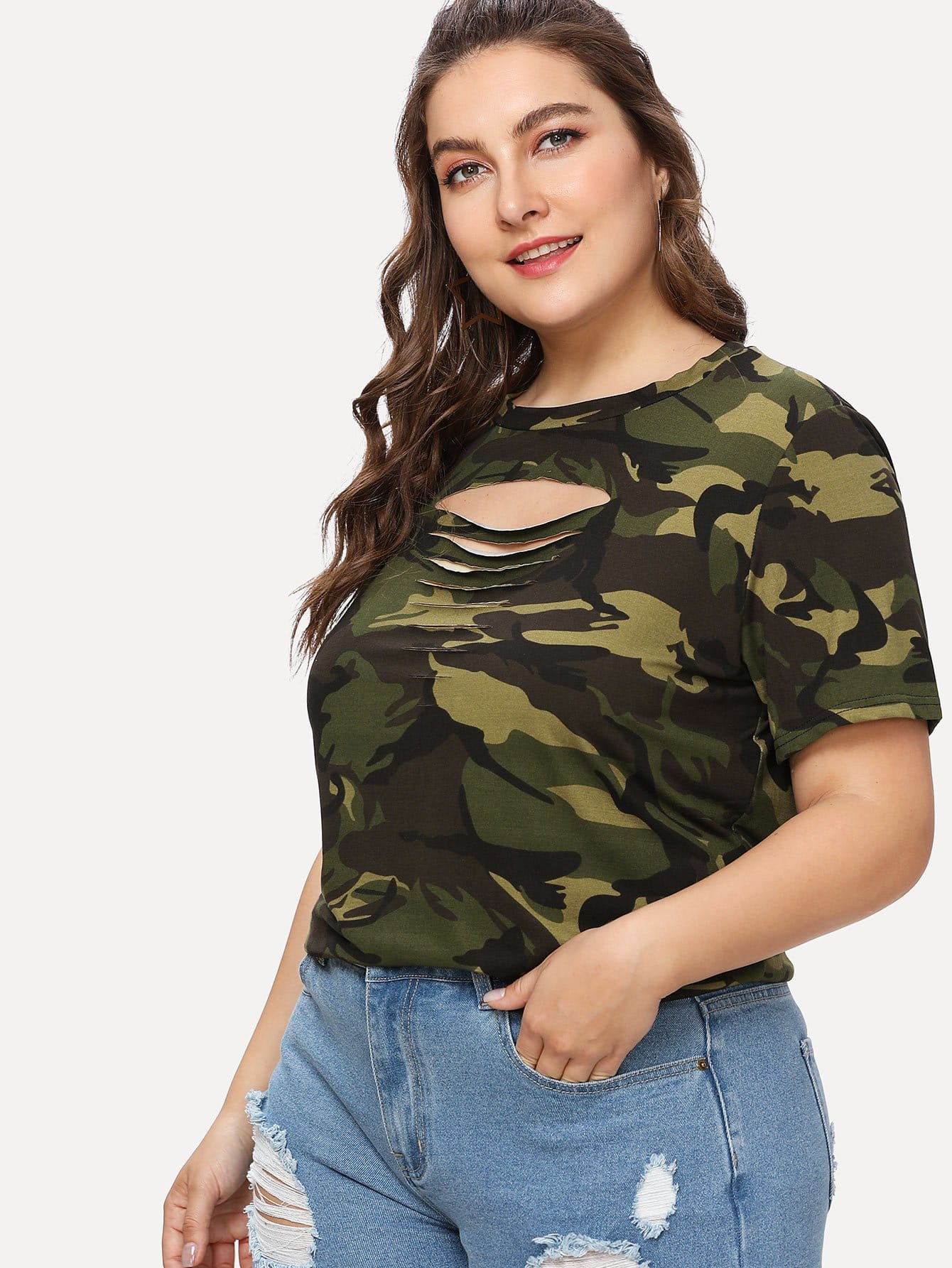 Plus Ladder Ripped Camo Tee