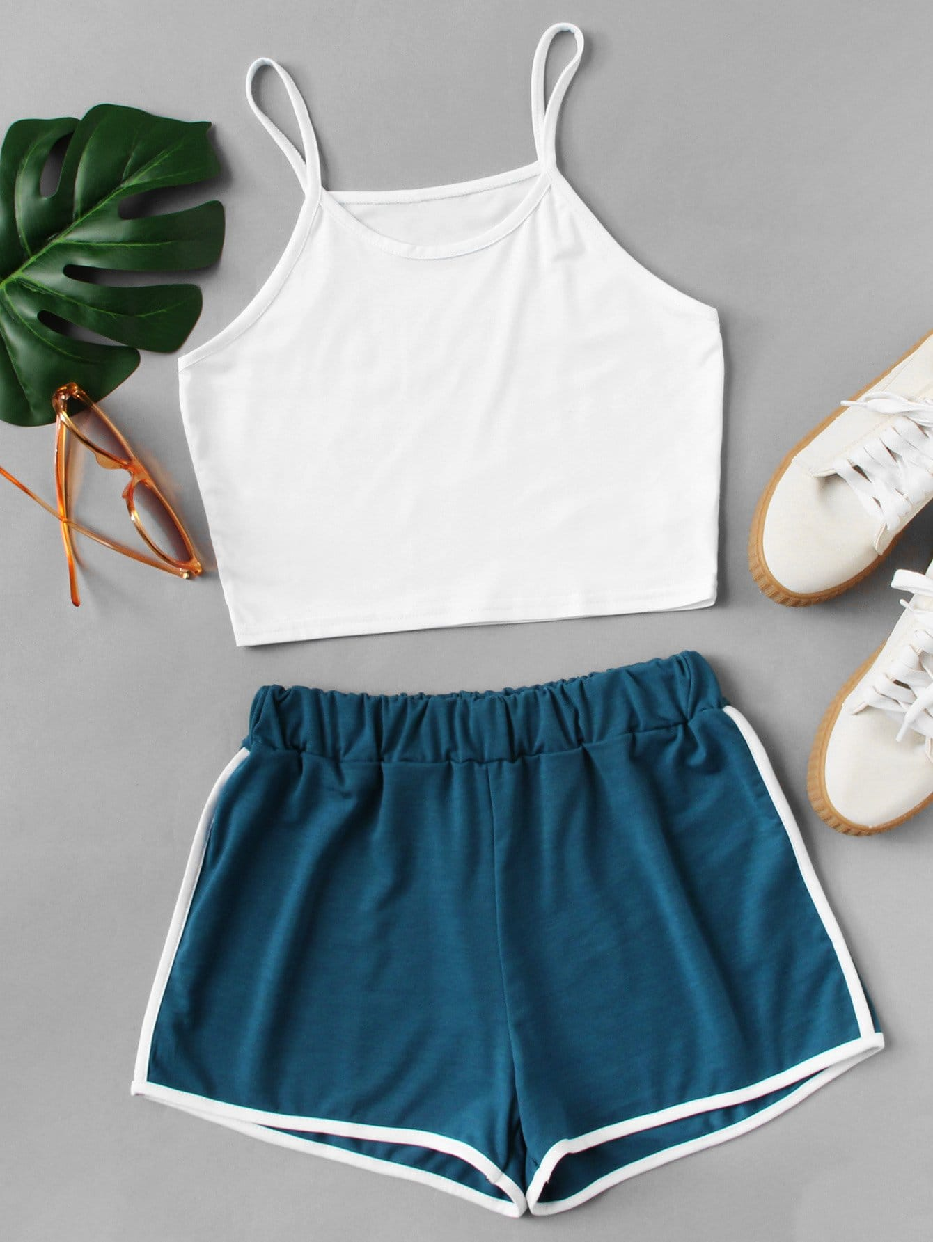 Crop Cami Top With Contrast Trim Shorts crop cami top with lace up shorts