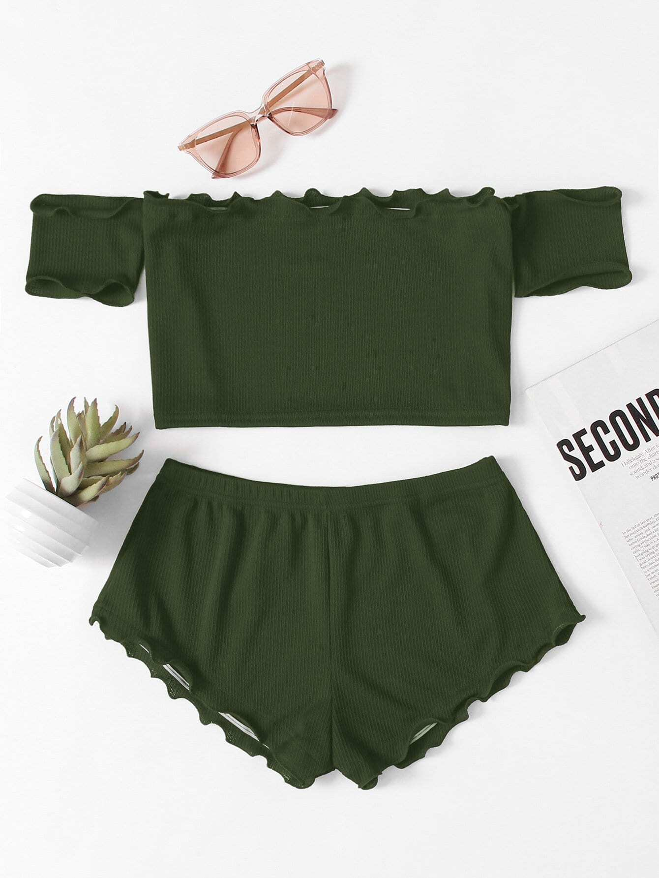 Lettuce Edge Bardot Crop Top With Shorts lettuce edge bardot crop top with shorts